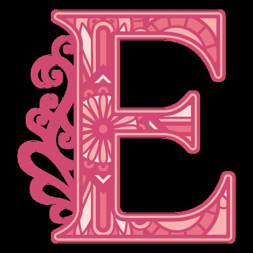 Floral alphabet E letter