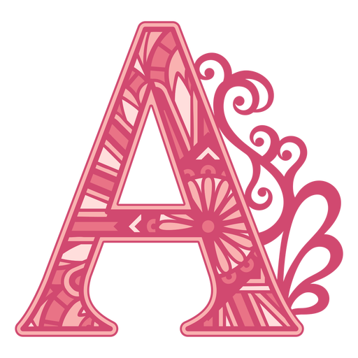 Pink letter A mandala alphabet