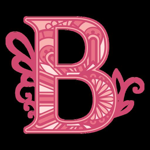 Pink letter B mandala alphabet