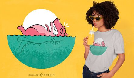 Diseño de camiseta de natación t-rex.