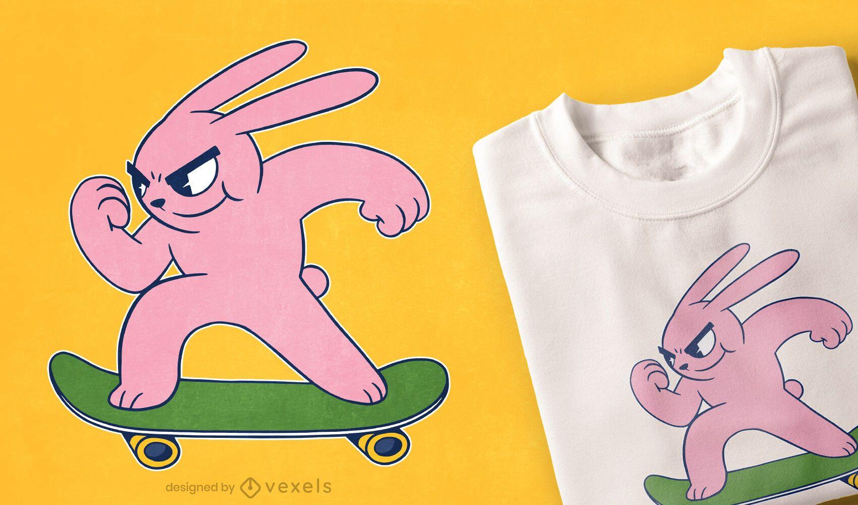 Diseño de camiseta skater bunny