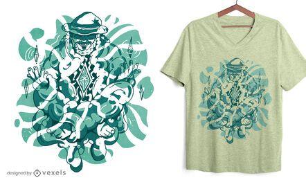 Diseño de camiseta de mago meditando.