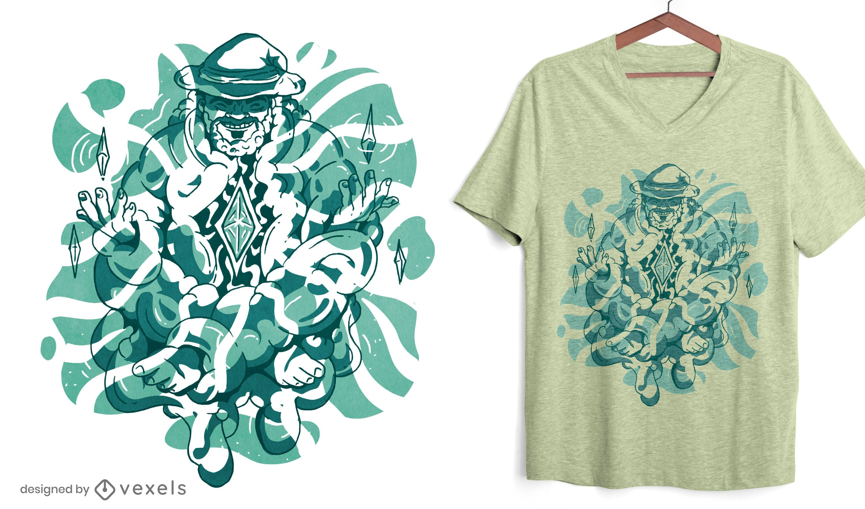 Design de camiseta de mago meditando