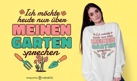 Diseño de camiseta de cita alemana de jardín