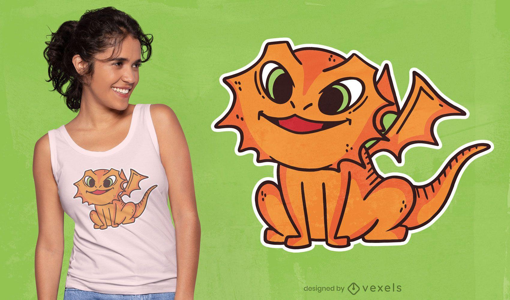 Design de camiseta com dragão fofo