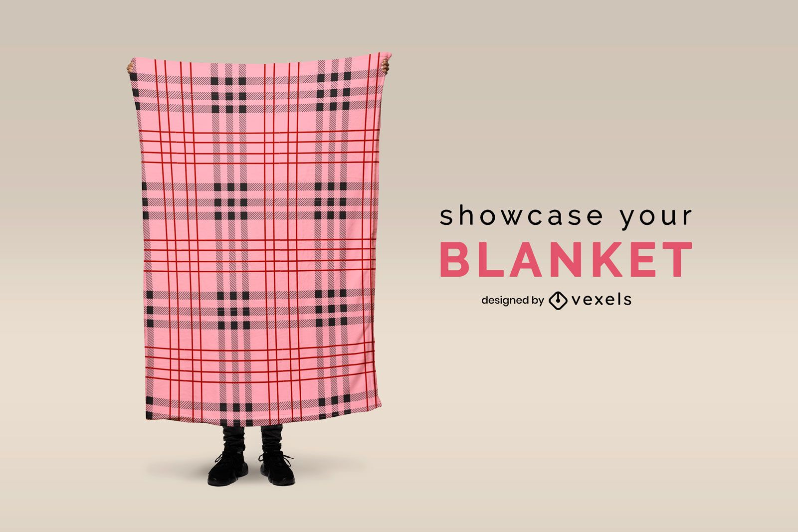 Person holding extended blanket mockup