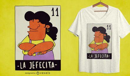 Diseño de camiseta de lotería mexicana madre enojada