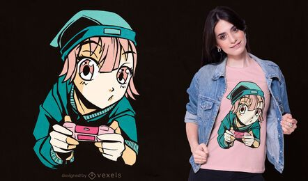 Diseño de camiseta de joystick de anime gamer girl