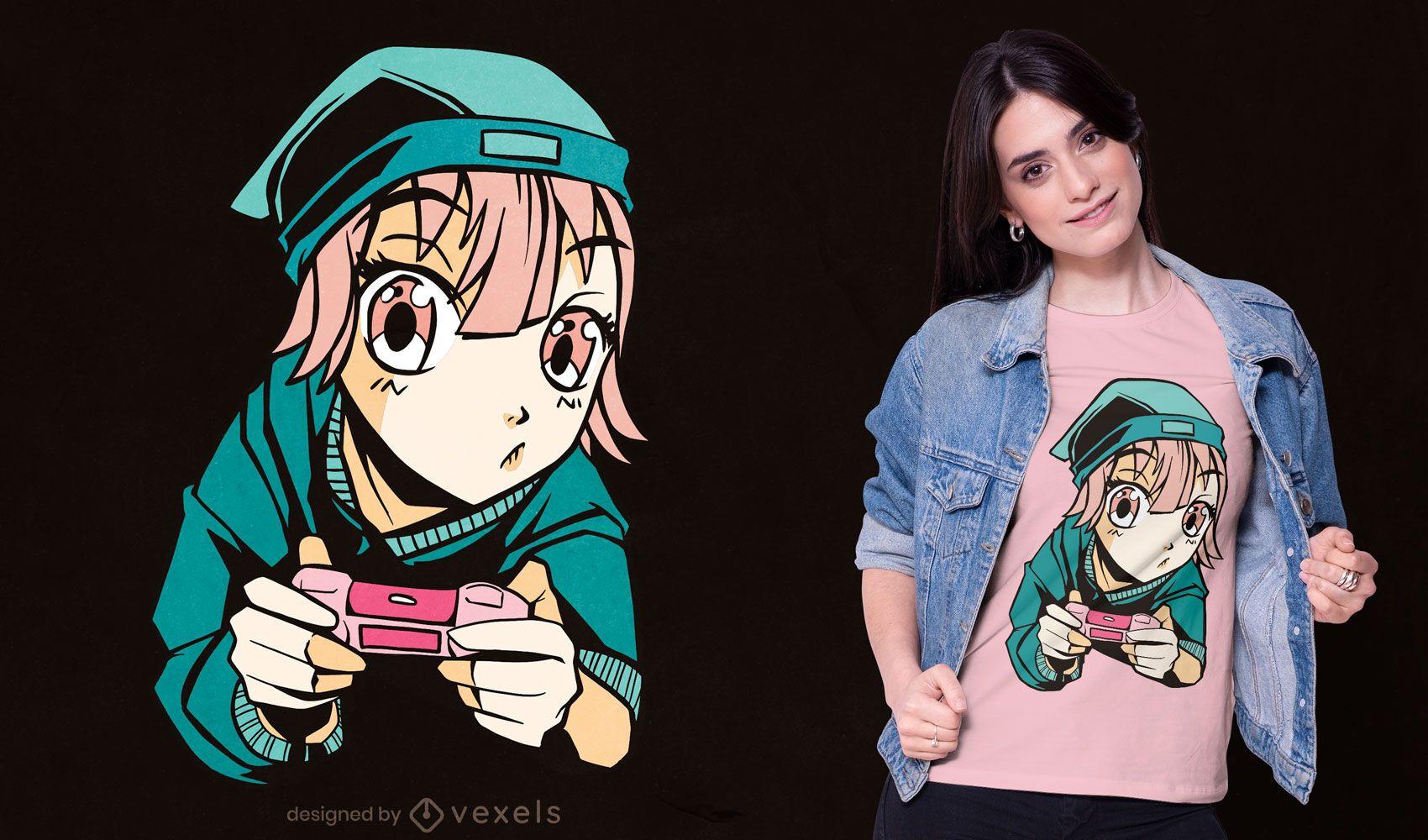 Design de t-shirt com joystick de anime gamer