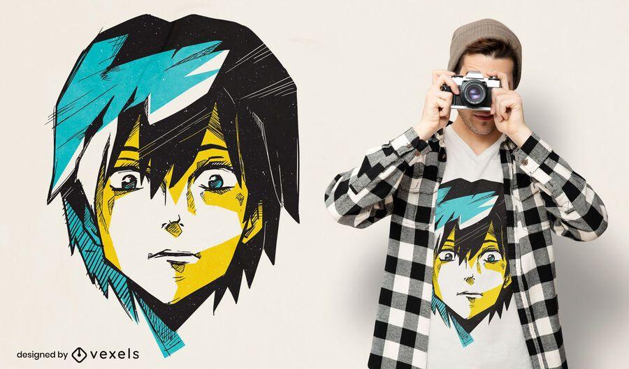 Diseño de camiseta de dibujo de cara seria de anime