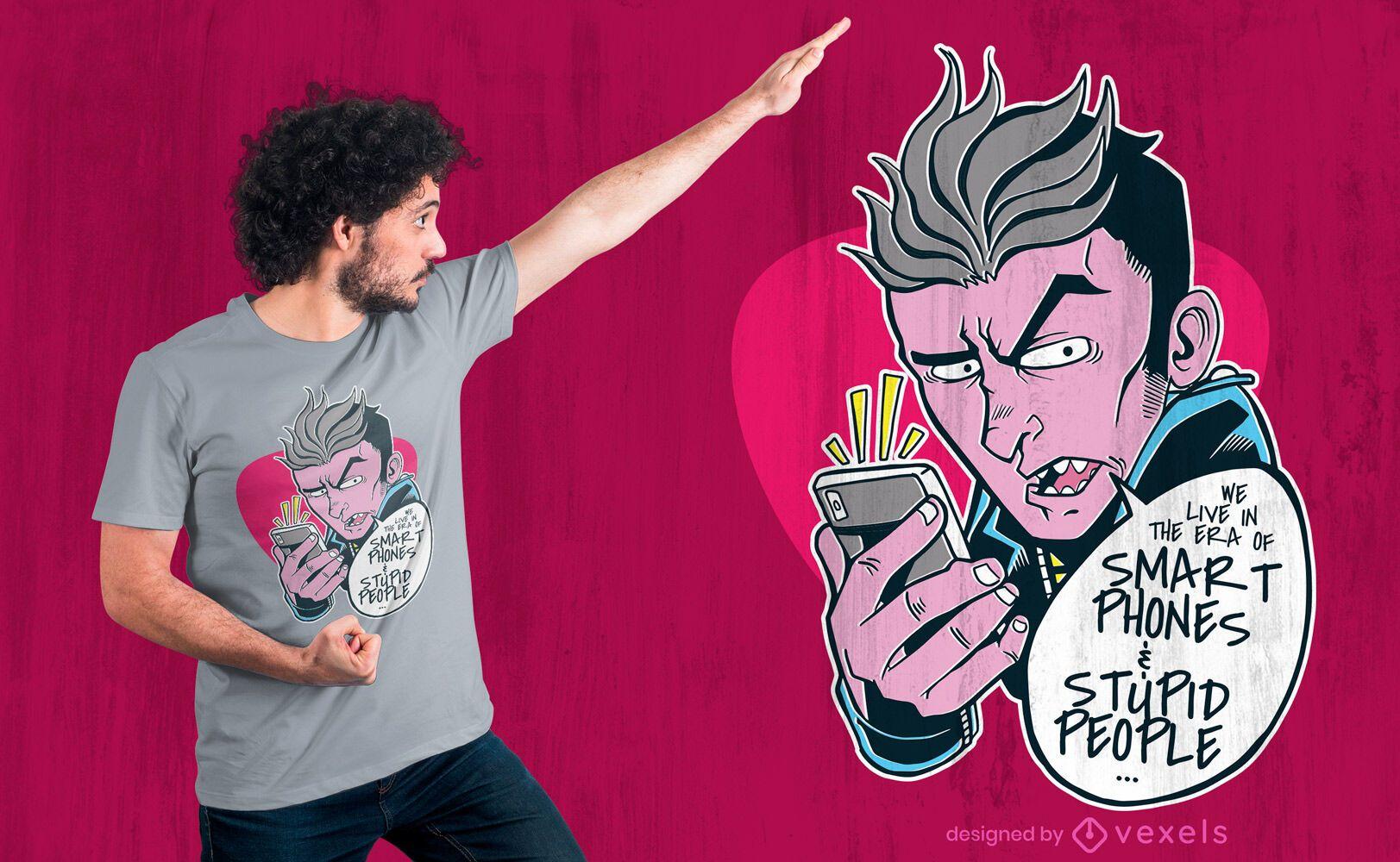 Homem com design de camiseta de citação de smartphone