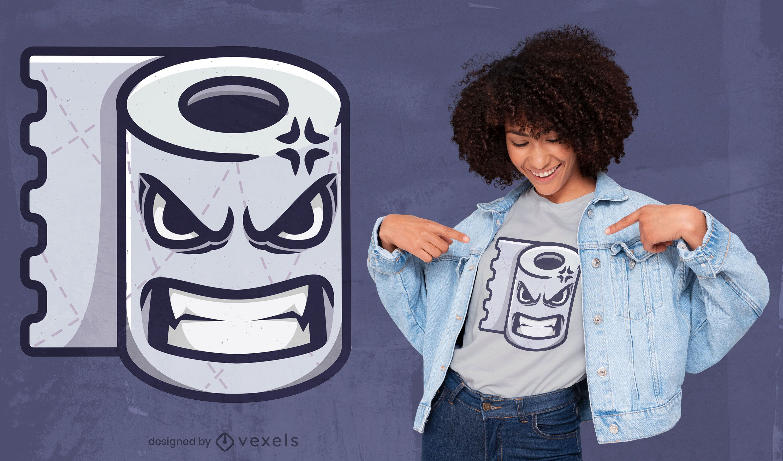 Design de t-shirt de desenho animado de papel higi?nico irritado