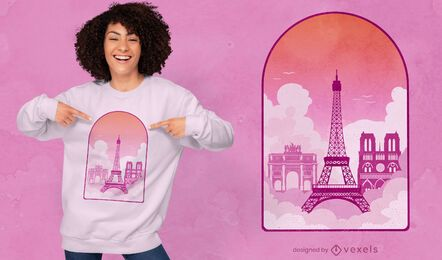Diseño de camiseta de monumentos de la ventana de París.