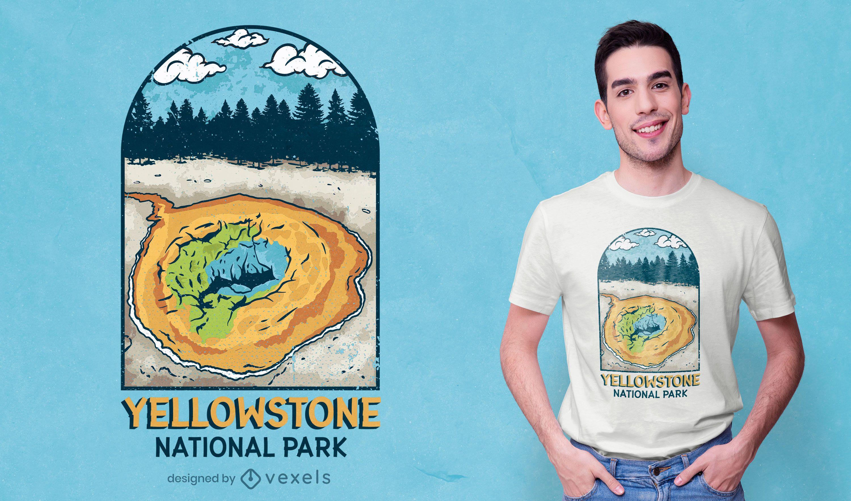 Diseño de camiseta del parque nacional de Yellowstone.