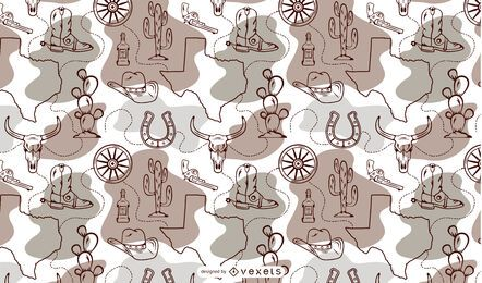 Texas state cowboy pattern design