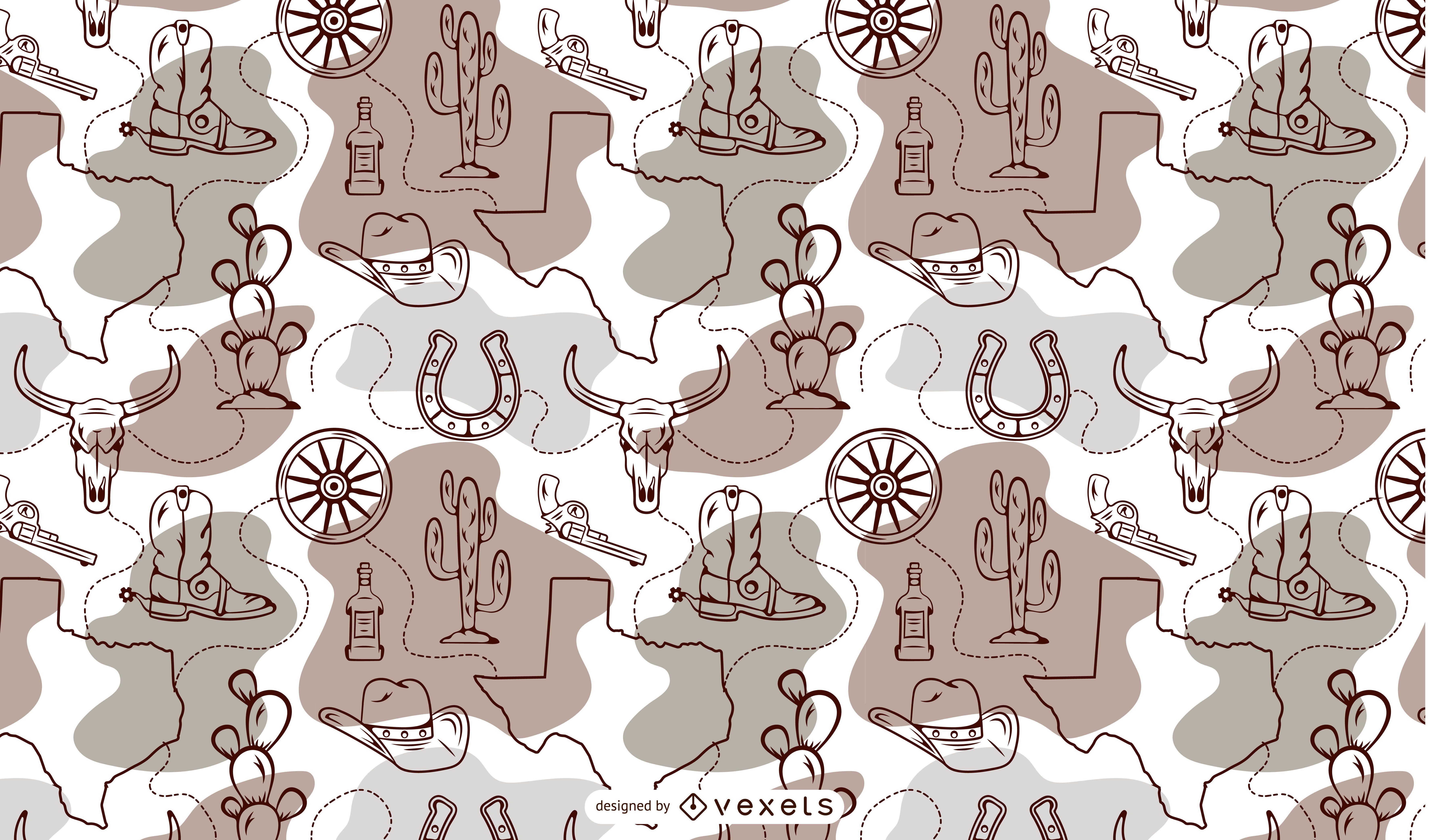 Desenho de padrão de cowboy do estado do Texas