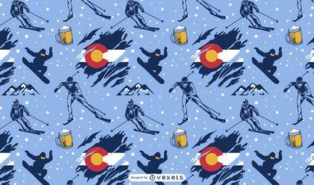 Skiing sport colorado pattern design