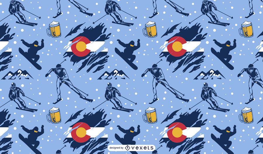Skiing sport colorado pattern design