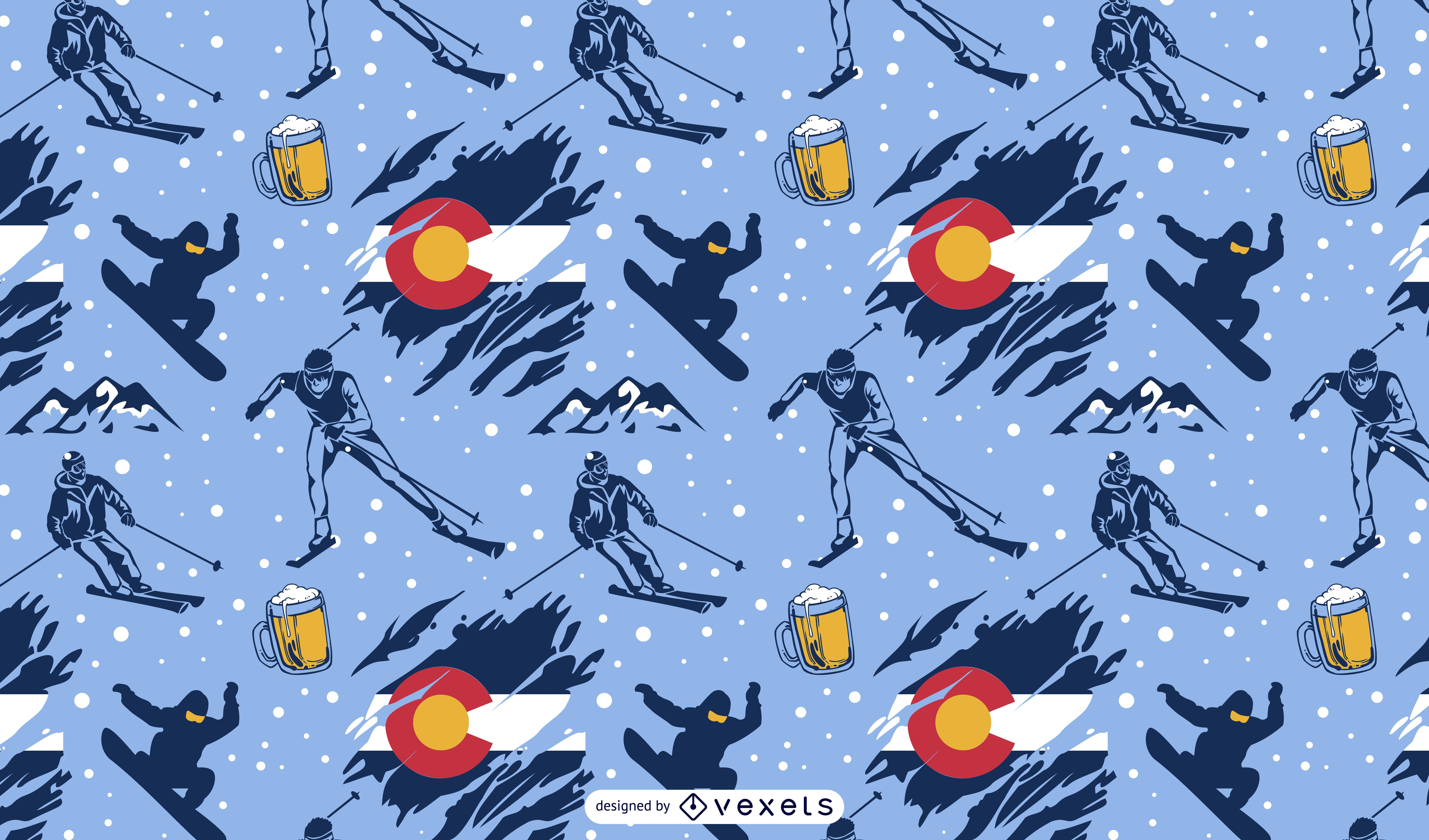 Diseño de patrón de esquí deporte colorado