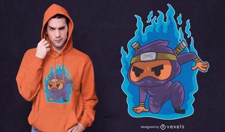 Design de camiseta do Ninja pegando fogo