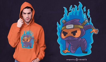 Ninja on fire t-shirt design