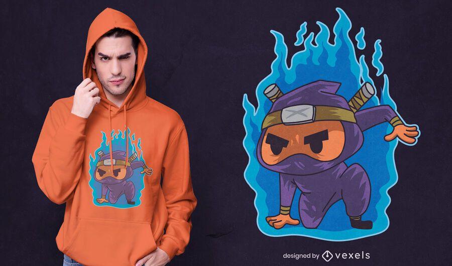 Diseño de camiseta ninja en llamas.