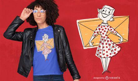 Frau mit Umschlag-T-Shirt Design