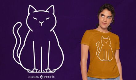 Diseño de camiseta de gato minimalista.