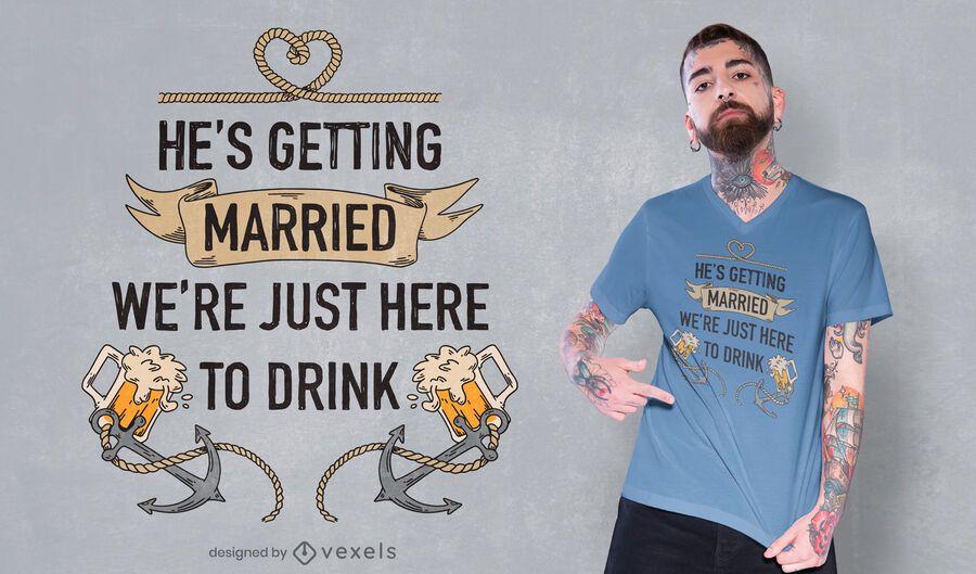 Diseño de camiseta de cita de soltero