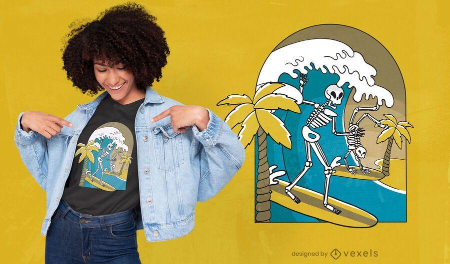 Diseño de camiseta de surf de esqueletos.