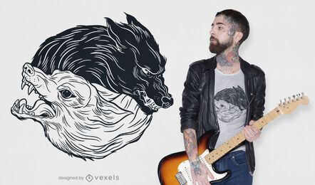 Diseño de camiseta de lobos yin yang