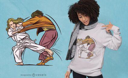 Diseño de camiseta de mujer judo.