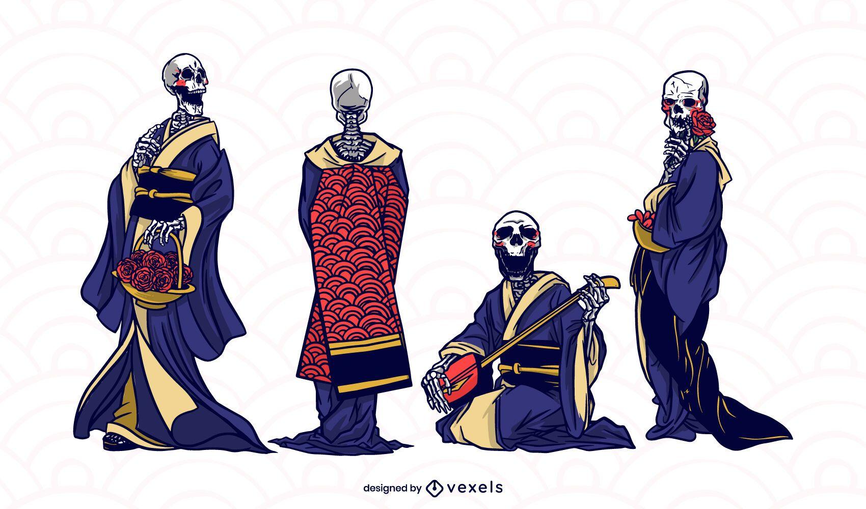 Japanese geishas skeleton character set