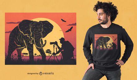 Diseño de camiseta de fotografía de elefante.