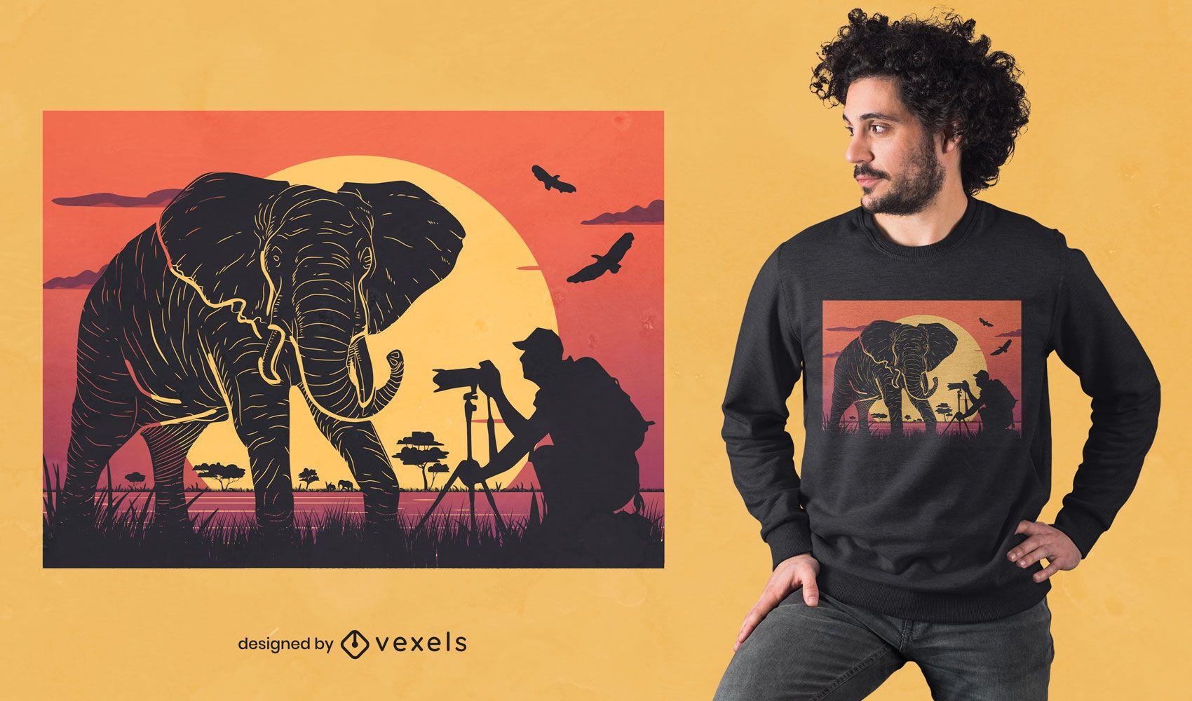 Dise?o de camiseta de fotograf?a de elefante.
