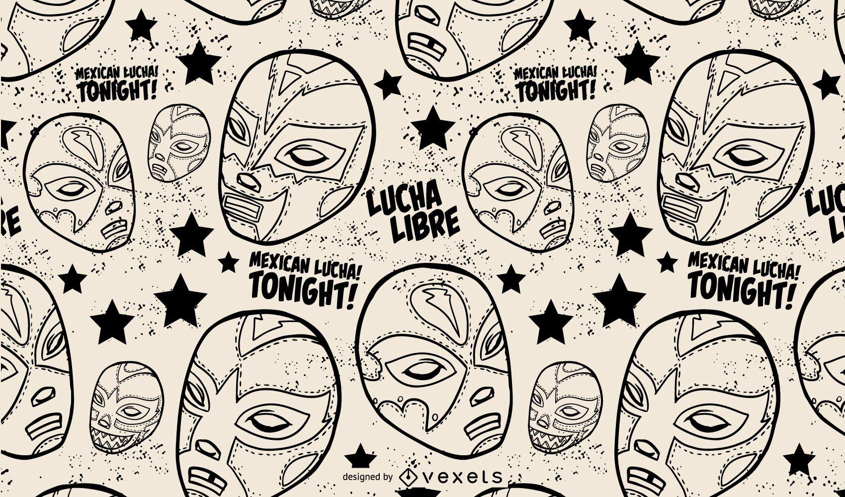 Diseño de patrón de maks de lucha libre mexicana