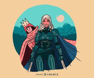 Ilustração de mulher cavaleiro protegendo príncipe
