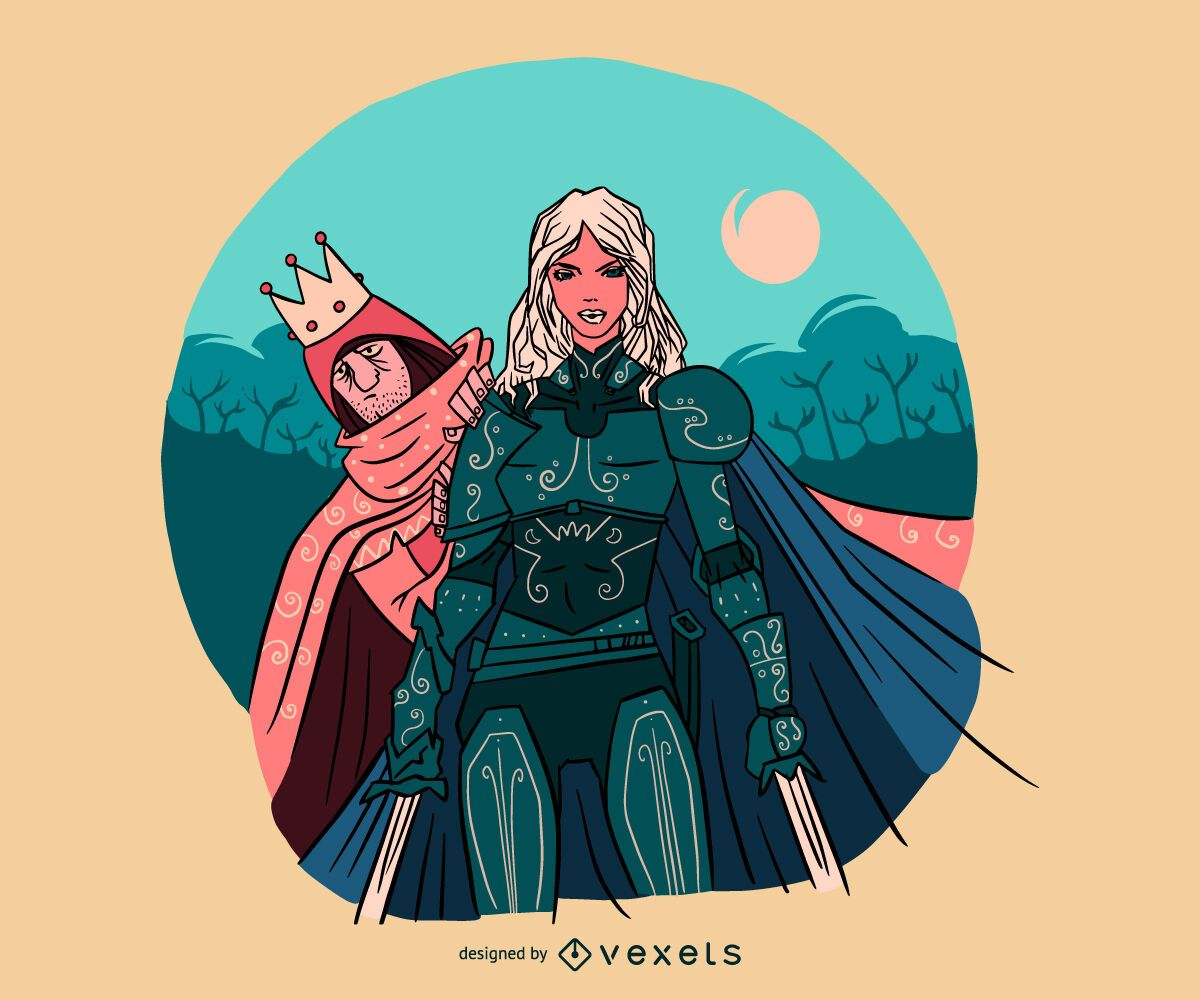 Woman knight protecting prince illustration