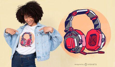 Diseño de camiseta genial de auriculares para jugadores.