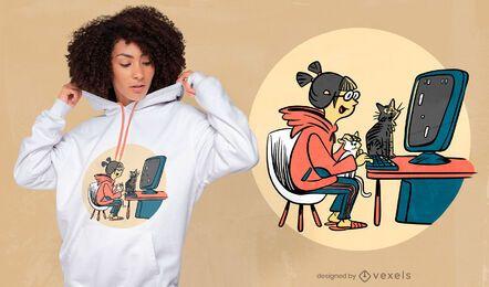 Gamer girl com design de t-shirt de gatos