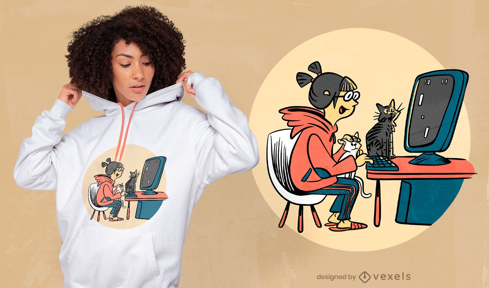 Diseño de camiseta de chica gamer con gatos.