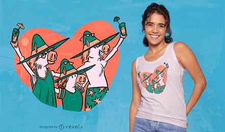 Ponis de verano con diseño de camiseta de cócteles.
