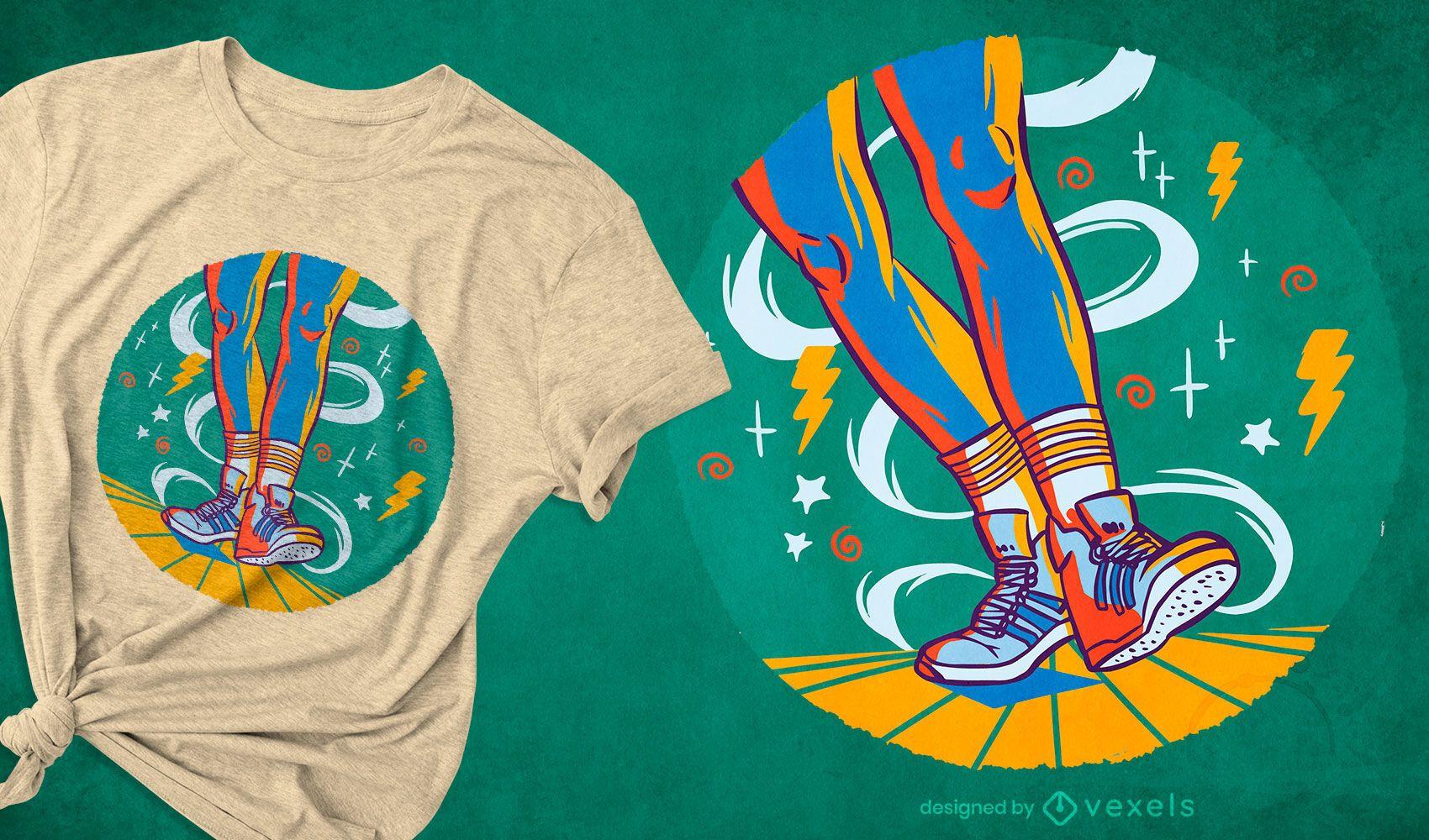 Diseño de camiseta colorida de baile shuffle