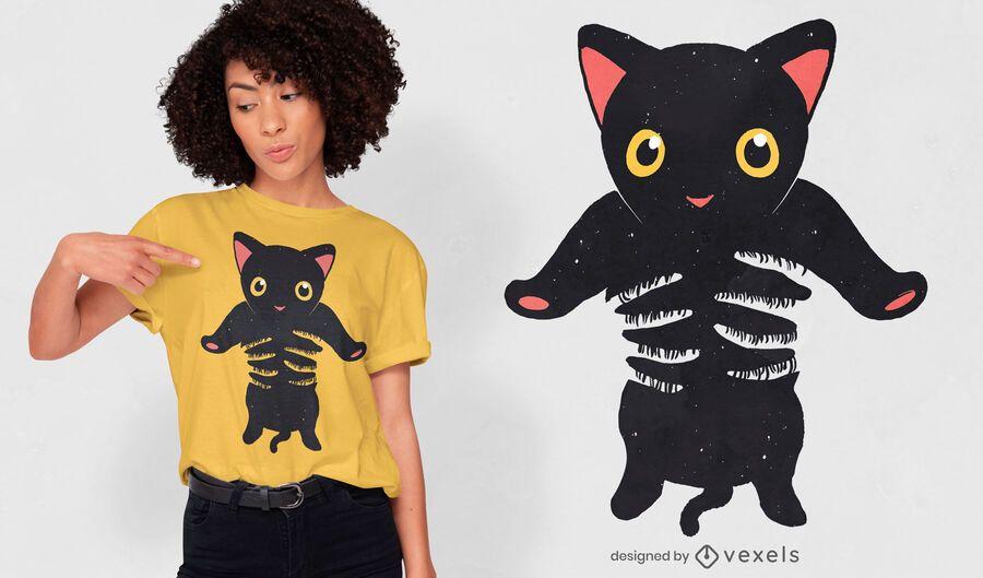 Diseño de camiseta de gatito negro retenido