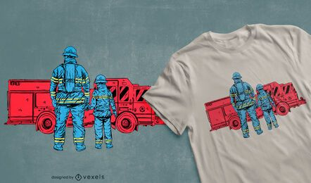 Diseño de camiseta de padre e hijo de bombero.