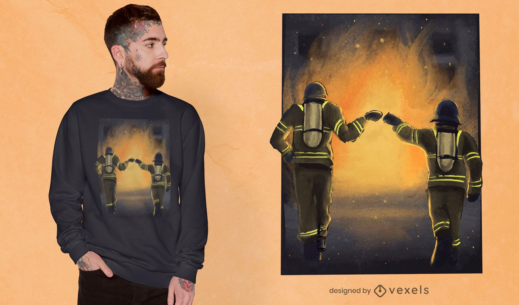 Firefighters fist bump t-shirt design