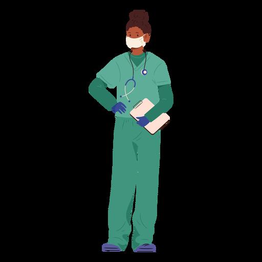 Nurse with mask semi flat