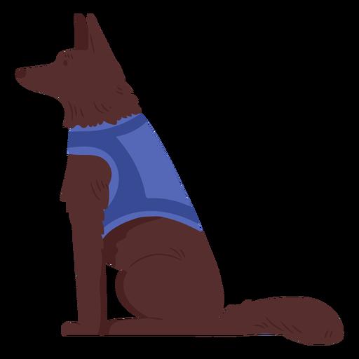 Dog with vest semi flat