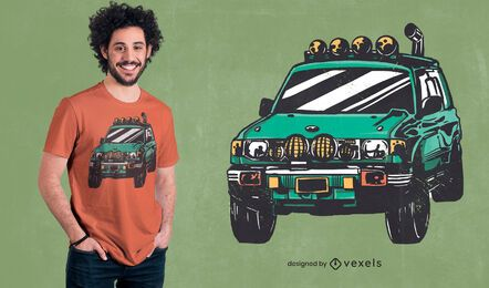 Off-road green car t-shirt design