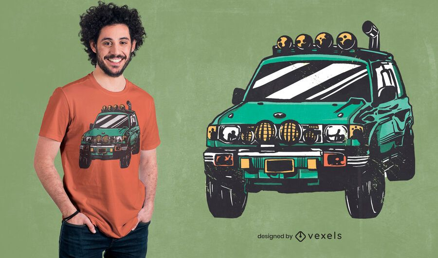 Off-road green car t-shirt design
